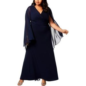 Calvin Klein Plus Size Chiffon-Cape Wrap Gown